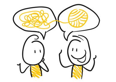 Zwei gezeichnete Figuren schauen sich einander an. Sie sind miteinander im Beratungsdialog.